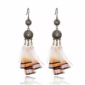 Jewelry - Boho Feather Earrings beautiful fall colors!!